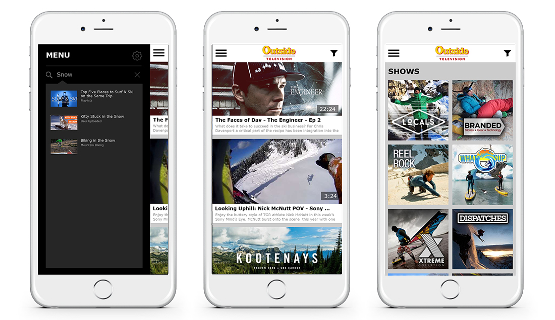 Here's the mobile app we made for Outside Television