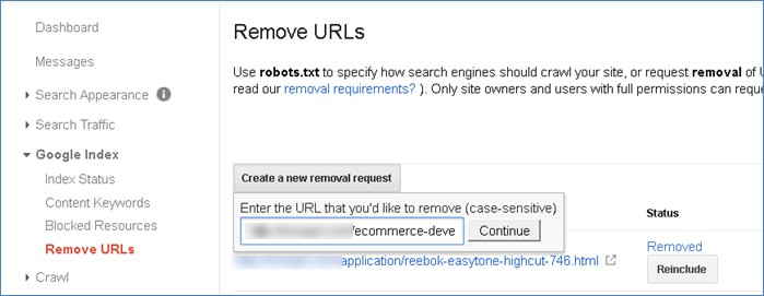 Remove page from search results and cache